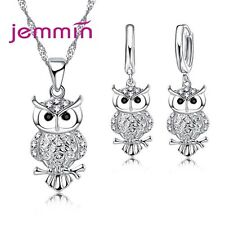 Gift Jewelry Sets For Women Girl Cute Crystal Night Owl Design Necklace Earrings