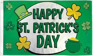 Happy St Patricks Day Flag 3x5 ft Ireland Irish Saint Paddy Green Party Holiday