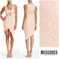 MISSGUIDED  ASYMMETRICAL  LACE  BODYCON  DRESS   Sz 6  UK 10   NEW  NORDSTROM