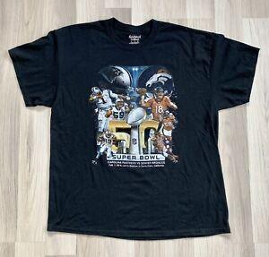 2016 Super Bowl Broncos Vs Panthers Peyton Manning Cam Newton T-shirt. Size XL