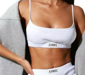 MOTEL ROCKS Esme Bralet Top White + Angel Embroidered Label Size Small UK 8-10