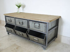 Metal Industrial Retro Drawers Sideboard Cupboard Storage Cabinet Unit & Castors