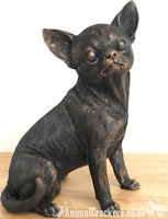 18cm sitting bronze effect Chihuahua ornament figurine decoration Dog Lover Gift