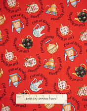 """Mary Engelbreit Retro Tea Pots Cherry Cup Of Kindness Red Cotton Fabric 25"""""""
