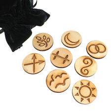 Witch's Runes (Set of 8) NEW Birch Wood Witch Rune Tiles w/ Bag and Guide