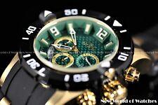 New Invicta Men's 50mm Pro Diver Quartz Chronograph 18K Gold Green Dial Watch
