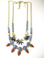 Bead Red Stone Fan Charm Necklace Nwt 110 Lee by Lee Angel Gold Two tier Blue