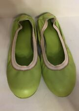 FORNARINA Lime Green Leather Skimmer Flats Shoes Euro Size 40 EUC