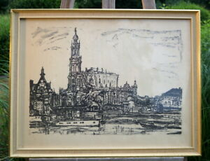 hervorragende Zeichnung Druck von Haindorf 1970 Berlin signierte Künstlerarbeit