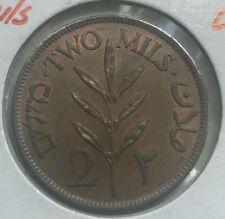 1942 Palestine 2 Mils - Nice Copper AU/UNC