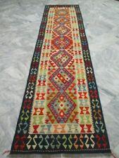 6468 - SUPER QUALITY AFGHAN HAND WOVEN LAMB WOOL KILIM RUNNER 308 x 79 cm