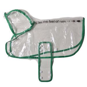 small dog rain coat Clear Plastic And Green Trim With Hood Waterproof Dog Coat