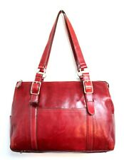 VTG LARGE FOSSIL RED GENUINE LEATHER CLASSIC TOTE BUSINESS SHOULDER BAG HANDBAG