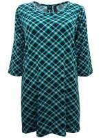 Ivans ladies tunic top plus size 16 20  blue check longline