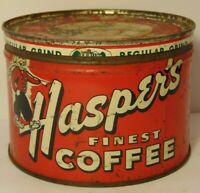 Vintage 1950s HASPER'S GRAPHIC COFFEE TIN 1 POUND MUSKEGON MICHIGAN MADE IN USA