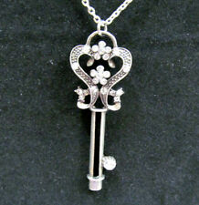 Key Pendant Necklace Rope Style Silver Tone Anchor Link Chain Rhinestones