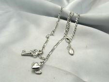 GUESS Silver Tone Heart with Wing Key Charm Pendant Necklace NWT