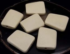 35x30mm Wavy Rectangle Wood Pendant Focal Beads (6) - Off White / Cream