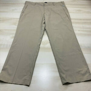 Adidas Golf Pants Mens 40x30 Khaki Light Beige Flat Front Tech Activewear