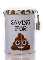 Emoji Poo Novelty Savings Tin Money Storage Lockable Piggy bank Fine Jar Gift