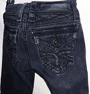 Rock Revival Kate Straight Black Sequin Fleur De Lis Skinny Jeans 24 x 32 long