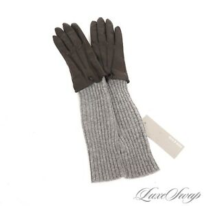 NWT Soia & Kyo Black Nappa Leather Long Grey Knit Wool Blend MODERN Gloves S NR
