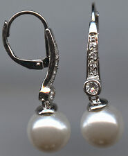 9MM WHITE SIMULATED PEARL & CZ LEVERBACK EARRINGS
