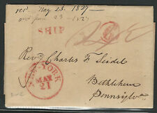 """Danish West Indies 1827 Stampless Cover/Letter, Red SHIP and """"6"""" Postal Markings"""