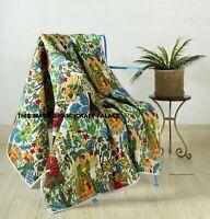 Handmade Farida Kahlo Estampado Manta Kantha India Acolchado Colcha 127x178cm
