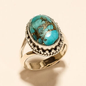 925 Solid Sterling Silver Natural Copper Turquoise Ring Gemstone 6.30Gm m630