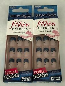 (2) KISS BROADWAY FASHION EXPRESS GLUE ON NAILS BLUE SPARKLE DESIGN BCD04 RUNWAY