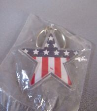 RED WHITE AND BLUE AMERICAN  FLAG AND STAR DESIGNED KEY CHAIN