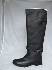 LADIES_KNEE HIGH_BLACK LEATHER RIDING BOOTS_RAVEL-UK 6_Flat_Casual_NEW XMAS GIFT
