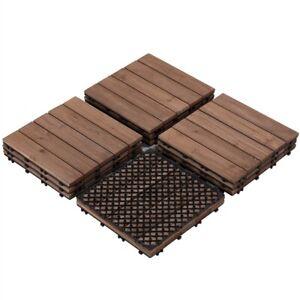 11x Wood Flooring Patio Pavers Decking Tiles Interlocking Outdoor Indoor 12x12''