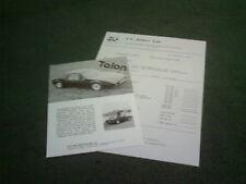 1983 1984 GP Talon-VW Beetle Based Kit Voiture UK notice + liste de prix-Brochure