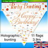 Birthday Party Bunting Rose Gold White Holographic Fizz Age Decorations Banner🎈