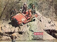 1970 Great Magazine Pic of Racing Jeep Stuck on Side of Hill