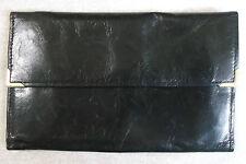 VINTAGE SOFT BLACK LEATHER EXTRA SLIM TRI-FOLD WALLET 1970'S 1980'S MOD
