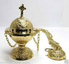 Censer church Incense burner Handmade cl gold brass Кадильница подвесная латунь