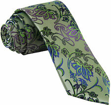 New Milani Men/'s necktie only green plaid wedding party formal prom