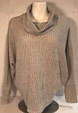Enti Glamour Cowl Turtleneck Small Tunic Top Gray White Speckles Knit Sweater