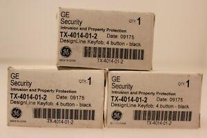 3 GE Interlogix TX-4014-01-2 DesignLine Wireless 4-Button Remote Key Fob