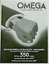 PUBLICITÉ DE PRESSE 1935 BRACELET MONTRES HOMME OMEGA L'HEURE EXACTE POUR LA VIE