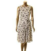 ANNE KLEIN NEW Women's Flowerfall Sleeveless Self Tie Fit & Flare Dress TEDO