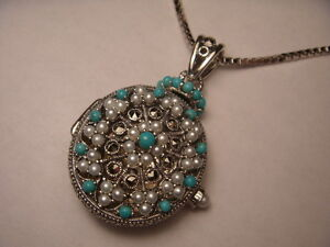 Magnificent Silver Turquoise Seed Pearl Marcasite Filigree Locket Pendant