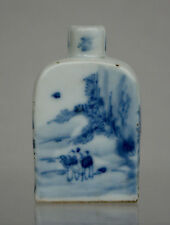 ANTIQUE CHINESE SNUFF BOTTLE BLUE & WHITE PORCELAIN