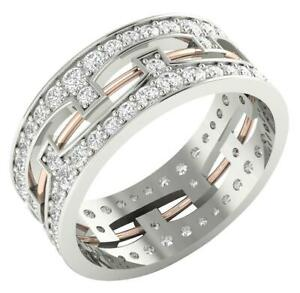 Engagement Ring SI1 G 2.00 Ct Natural Diamond Eternity 14K Gold 8.10MM Prong Set
