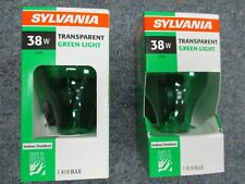 TWO Sylvania 38W Green Veterans Light Bulb Indoor Outdoor Holiday FREE SHIPPING!