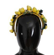 NEW $1900 DOLCE & GABBANA Diadem Headband Yellow Sicily Lemon Crystal Floral
