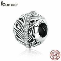BAMOER S925 Sterling Silver Charm Love of feather Bead With Crystal Fit bracelet